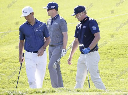 (L-R) Billy Horschel of the US ; Zach Johnson of the US and Brandt Snedeker of the US on the fifth hole during a practice round for THE PLAYERS Championship golf tournament at TPC Sawgrass, in Ponte Vedra Beach, Florida, USA, 09 March 2021.
