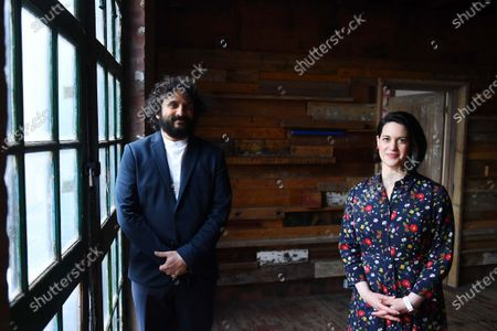 Stock Picture of British entertainer Nish Kumar and art historian Jacky Klein on set in London, filming a specially commissioned programme to accompany this year's Sony World Photography Awards 2021 virtual exhibition. The film introduces the big winners from around the world, the film and exhibition will be available to view from 15 April 2021 at worldphoto.org.   Entertainer Nish Kumar Quote:   'I'm very happy to be presenting the Sony World Photography Awards, it's been exciting to see these brilliant photos and actually learn something for once in my damned life!'   'One of the things I have really enjoyed about the Sony World Photography Awards is the global focus. There are things happening in other places in the world that we have no sense or awareness of and a photograph can do alot to build empathy.'