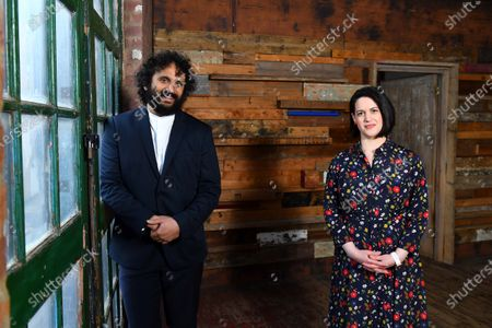 Stock Photo of British entertainer Nish Kumar and art historian Jacky Klein on set in London, filming a specially commissioned programme to accompany this year's Sony World Photography Awards 2021 virtual exhibition. The film introduces the big winners from around the world, the film and exhibition will be available to view from 15 April 2021 at worldphoto.org.   Entertainer Nish Kumar Quote:   'I'm very happy to be presenting the Sony World Photography Awards, it's been exciting to see these brilliant photos and actually learn something for once in my damned life!'   'One of the things I have really enjoyed about the Sony World Photography Awards is the global focus. There are things happening in other places in the world that we have no sense or awareness of and a photograph can do alot to build empathy.'