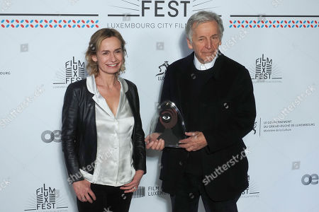 (L-R) Sandrine Bonnaire and Costa-Gavras attend the 11th Luxembourg city film festival jury photocall at Hotel Du Louvre