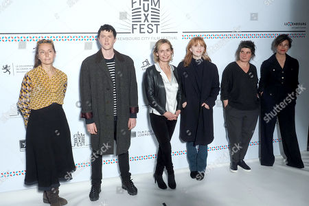 (L-R) Christina Schaffer, Finnegan Oldfield, Sandrine Bonnaire, Lolita Chammah, Marie-Ange Luciani and Mounia Meddour attend the 11th Luxembourg city film festival jury photocall at Hotel Bristol