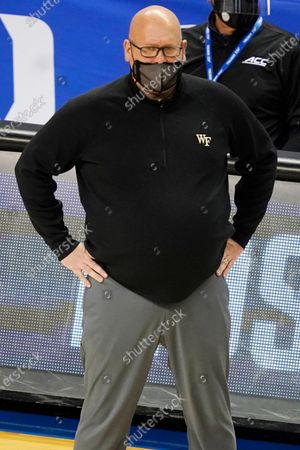 Wake Forest head coach Steve Forbes watches play during the second half of an NCAA college basketball game in the first round of the Atlantic Coast Conference tournament in Greensboro, N.C