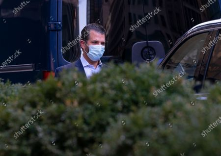 Donald Trump Jr. the son of Former President Donald J. Trump departs Trump Tower after Former President visit city of New York