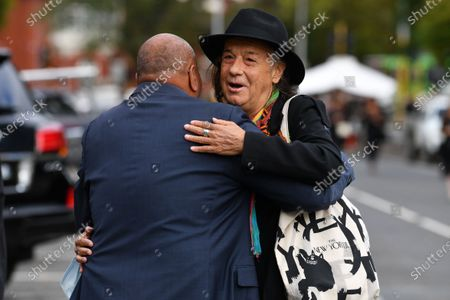 Paul Stewart (R) arrives to the funeral of Michael Solomon Gudinski in Melbourne, Australia, 10 March 2021. Gudinski, a towering figure in Australia's music industry and the founder of Mushroom Records, died in melbourne on 01 March aged 68.