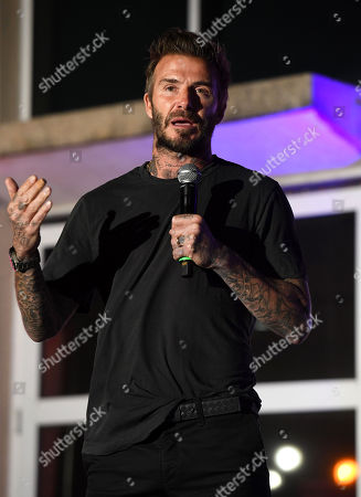 Stock Picture of David Beckham speaks during the David Grutman Experience 'The Class' held at the Kovens Conference Center at Florida International University Biscayne Bay Campus