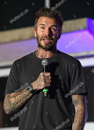 Stock Image of David Beckham speaks during the David Grutman Experience 'The Class' held at the Kovens Conference Center at Florida International University Biscayne Bay Campus