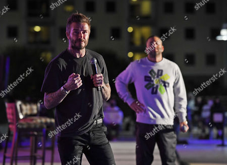 Stock Photo of David Grutman and David Beckham speak to students during the David Grutman Experience The Class held at the Kovens Conference Center at Florida International University Biscayne Bay Campus
