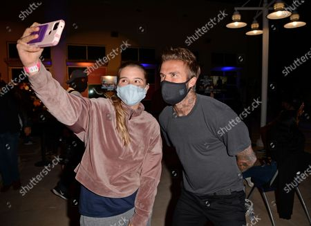 David Beckham takes selfie with students during the David Grutman Experience 'The Class' held at the Kovens Conference Center at Florida International University Biscayne Bay Campus