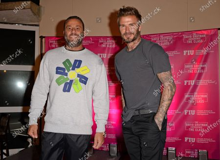 David Grutman and David Beckham attend the David Grutman Experience 'The Class' held at the Kovens Conference Center at Florida International University Biscayne Bay Campus