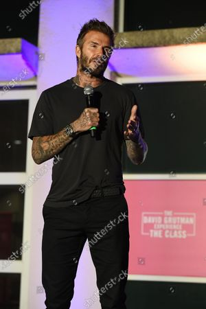 David Beckham speaks during the David Grutman Experience 'The Class' held at the Kovens Conference Center at Florida International University Biscayne Bay Campus