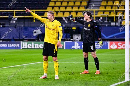 Erling Haaland ( Dortmund ), left - Marvin Hitz ( Dortmund ), right during the UEFA Champions League round of 16 match between Borussia Dortmund and  Sevilla FC at Signal Iduna Park in Dortmund, Germany.