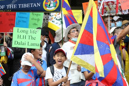 Stock Picture of Tibetans and supporters commemorate the 62nd Tibetan Uprising Day with rallies in cities across Australia and globally. In Sydney protesters held a rally in Martin Place before marching to the Consulate General of the People's Republic of China at 39 Dunblane St, Camperdown