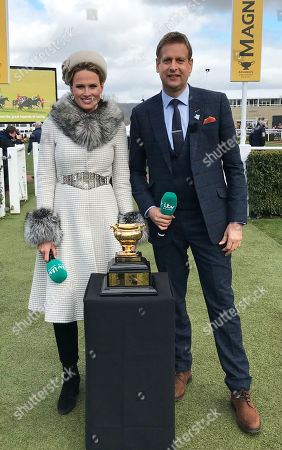 Francesca Cumani and Ed Chamberlin with the Cheltenham Gold Cup