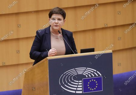 Member of Parliament, Former polish Prime minister Beata Szydlo speaks during the debate on the European Semester during a plenary session of the European Parliament in Brussels, Belgium, 10 March 2021. The European Semester provides a framework for the coordination of economic policies across the European Union.