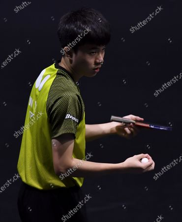 Lin Yun-Ju of Chinese Taipei serves during the men's singles round of 32 match against Joao Monteiro of Portugal at WTT Star Contender Doha 2021 in Doha, Qatar, on March 9, 2021.