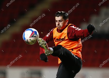 Northampton Town's Alex Jones during the pre-match warm-up  during Sky Bet League One between Charlton Athletic  and Northampton Town at The Valley,  Woolwich on 9th March 2021