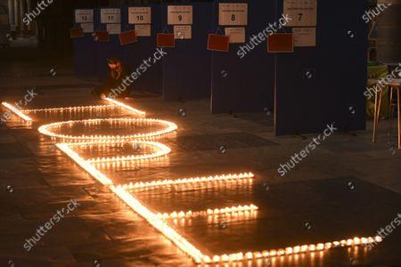 Editorial photo of Candle display at Salisbury Cathedral, UK - 09 Mar 2021