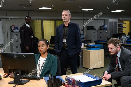 John Simm as DS Roy Grace, Richie Campbell as DS Branson, Amaka Okafor as DC Boutwood and Brad Morrison as DC Nicholl.