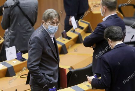 Member of European Parliament, Guy Verhofstadt (C) looks on after the signature of agreement on the Future of Europe on the sideline of a plenary session at the EU Parliament, in Brussels, Belgium, 10 March 2021. Guy Verhofstadt was suppose to lead the Conference, but Parliament decided in an other way last week.