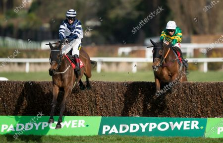The winner Grey Diamond (Sam Twiston-Davies) leads Dostal Phil (Richard Johnson) over the last fence in the 2m novices handicap chaseSandown 12.3.21 Pic: Edward Whitaker