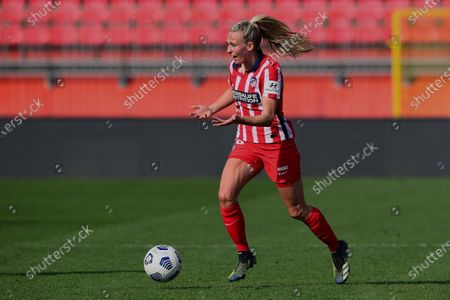 Toni Duggan of Atletico runs with the ball during the Women's UEFA Champions League Round of 16 match between Atletico Madrid and Chelsea FC Women at Stadio Brianteo on March 10, 2021 in Monza, Italy.