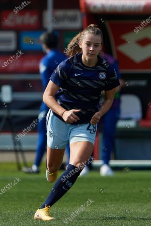 Jorja Fox (England) of Chelsea FC during the warm-up before the Women's UEFA Champions League Round of 16 match between Atletico Madrid and Chelsea FC Women at Stadio Brianteo on March 10, 2021 in Monza, Italy.