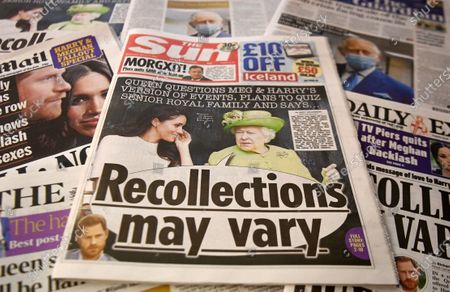 Front pages of British newspapers in London, Britain, 10 March 2021. US channel CBS aired a television interview with Britain's Prince Harry and Meghan, Duke and Duchess of Sussex on 07 March. Buckingham Palace have responded with a statement to the racism allegations following the TV interview that was broadcast in the UK on 08 March.