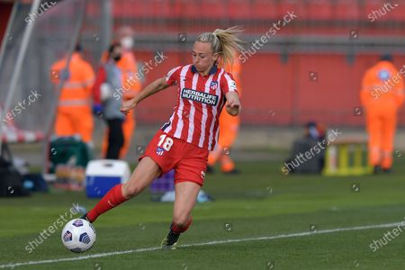 Stock Picture of Toni Duggan (#18 Atletico de Madrid) during the UEFA Womens Champions League match Round of 16 between Atletico de Madrid and Chelsea FC at U-Power Stadium in Monza, Italy