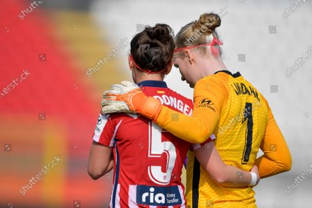Goalkeeper Hedvig Lindahl (#1 Atletico de Madrid) and Merel van Dongen (#5 Atletico de Madrid) during the UEFA Womens Champions League match Round of 16 between Atletico de Madrid and Chelsea FC at U-Power Stadium in Monza, Italy