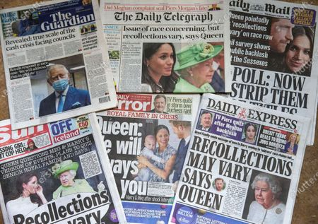 British Newspapers on March 10th showing the effects of the Harry and Meghan interview with Oprah Winfrey about the British Royal Family. In the interview both Harry and Meghan criticised the Royal Family. There were also allegations of racism. The Queen issued a brief 61 word statement which had the line 'Recollections may vary'. The interview has split public opinion.