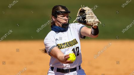 Stock Photo of Chattanooga's Hannah Wood throws to a batter during an NCAA college softball game, in Nashville, Tenn