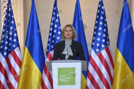 Stock Image of Deputy Speaker of the Verkhovna Rada of Ukraine Olena Kondratiuk is pictured during the presentation of the Twelve Points to Strengthen the Strategic Partnership between the United States and Ukraine (the joint address by Ukrainian and American public figures), Kyiv, capital of Ukraine.