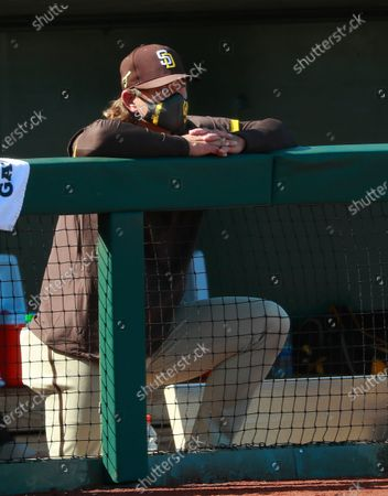 Stock Photo of San Diego Padres executive Trevor Hoffman looks on during a game against the Texas Rangers