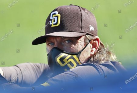 San Diego Padres executive Trevor Hoffman looks on during a game against the Texas Rangers