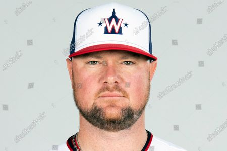 This is a, photo showing Jon Lester of the Washington Nationals baseball team. Nationals manager Dave Martinez said Lester has been playing catch on flat ground and soon should be able to throw off a mound again to work his way into form for the regular season, which begins April 1. The Nationals left-hander had surgery to remove a thyroid gland