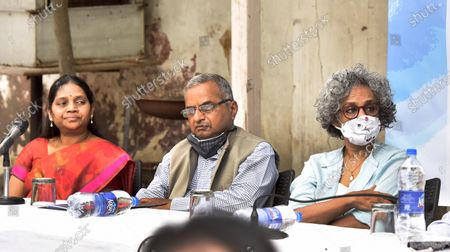 ( R- L)  Writer Arundhati Roy, National Platform for the Right of Disabled Murlidharan, and Vasantha Wife of GN Saibaba and Women's Rights Activists jointly address press conference demanding the release of GN Saibaba at Press Club on March 10, 2021 in New Delhi, India. Former Delhi University professor G N Saibaba is serving a life term in Nagpur Central Prison for alleged Maoist links, on medical grounds. Saibaba, who is wheelchair-bound with over 90 per cent physical disability, had tested positive for COVID-19 on February 12.