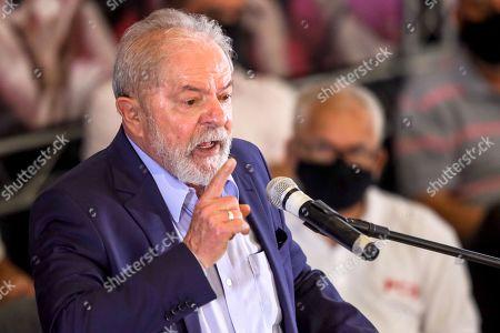 Former President of the Republic Luiz Inacio Lula da Silva holds a press conference at the ABC Metalworkers Union in Sao Bernardo do Campo