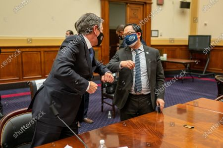 U.S. Rep Andy Kim, D-NJ., greets Secretary of State Tony Blinken following his testimony before the House Committee on Foreign Affairs on The Biden Administration's Priorities for U.S. Foreign Policy on Capitol Hill
