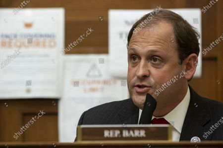 Representative Andy Barr, R-KY, speaks during a House Foreign Affairs Committee hearing in Washington, DC on Wednesday, March 10, 2021. The Biden administration is considering withdrawing all troops from Afghanistan by May 1 as it leans on President Ashraf Ghani to accelerate peace talks with the Taliban, including by supporting a proposal for six-nation discussions that include Iran.