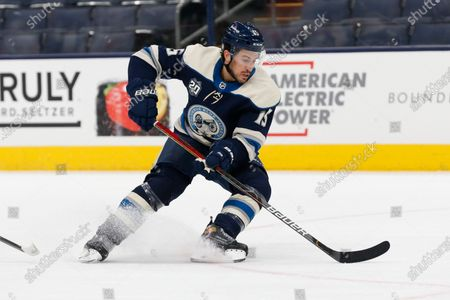 Columbus Blue Jackets' Michael Del Zotto plays against the Florida Panthers during an NHL hockey game, in Columbus, Ohio