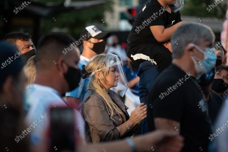 """Veronica Ojeda, Diego Maradona's ex-wife seen during the demonstration. Demonstrating in downtown Buenos Aires Diego Maradona's fans and family members claimed the legendary Argentinian football player was killed. """"He did not die. They killed him,"""" chanted protesters."""