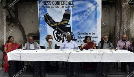 Senior advocate Prashant Bhushan, CPI leader D Raja, author-activist Arundhati Roy, former DUSU President Nandita Narain and others during a press conference demanding the immediate release of activist Dr GN Saibaba on March 10, 2021 in New Delhi, India.