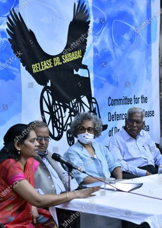 Senior advocate Prashant Bhushan, CPI leader D Raja, author-activist Arundhati Roy and others during a press conference demanding the immediate release of activist Dr GN Saibaba on March 10, 2021 in New Delhi, India.