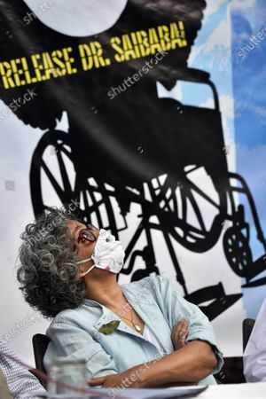 Stock Picture of Author-activist Arundhati Roy during a press conference demanding the immediate release of activist Dr GN Saibaba on March 10, 2021 in New Delhi, India.