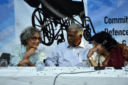 CPI leader D Raja, author-activist Arundhati Roy, former DUSU President Nandita Narain and others during a press conference demanding the immediate release of activist Dr GN Saibaba on March 10, 2021 in New Delhi, India.