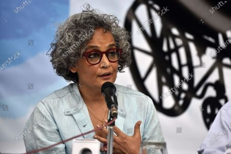 Stock Image of Author-activist Arundhati Roy addresses a press conference demanding the immediate release of activist Dr GN Saibaba on March 10, 2021 in New Delhi, India.