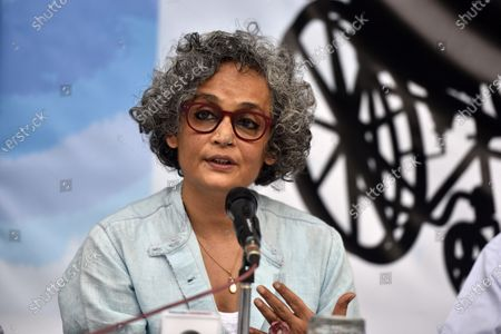 Author-activist Arundhati Roy addresses a press conference demanding the immediate release of activist Dr GN Saibaba on March 10, 2021 in New Delhi, India.