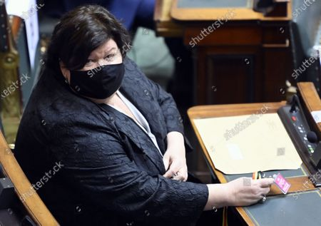 Open Vld's Maggie De Block pictured during a plenary session of the Chamber at the Federal Parliament in Brussels, Thursday 11 March 2021.