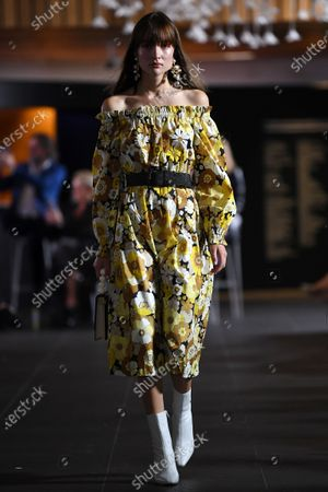 Stock Picture of A model presents a creation by Rebecca Vallance during the Melbourne Fashion Festival (MFF) Gala Runway show at the National Gallery of Victoria, in Melbourne, Australia, 11 March 2021.