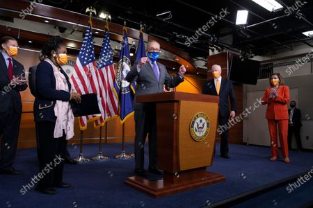Senate Majority Leader Chuck Schumer (C) speaks during a news conference on passage of gun violence prevention legislation, as US Speaker of the House Nancy Pelosi (R) Democratic Representative from California Mike Thompson (2-R), Democratic Representative from Texas Sheila Jackson Lee (Front L) and Democratic Senator from Connecticut Richard Blumenthal (Back L) look on, on Capitol Hill in Washington, DC, USA, 11 March 2021.